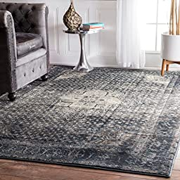 Traditional Vintage Inspired Overdyed Fancy Blue Area Rugs, 5 Feet 3 Inches by 7 Feet 8 Inches (5\' 3\