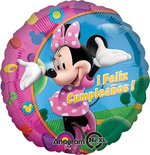 Anagram International Hx Minnie Feliz Cumpleanos-Flat Balloon, Multicolor