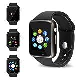 Bluetooth Smart Watch - Wzpiss Touch Screen Smartwatch Phone Unlocked Watch Smart Wrist Watch with Camera Pedometer Support SIM TF Card for Android Samsung Lg IOS Iphone Men Women Kids (Black1)