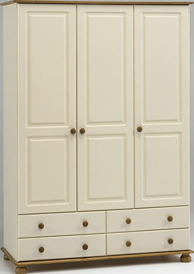 Steens Richmond Cream & Pine 3 Door 4 Drawer Triple Wardrobe