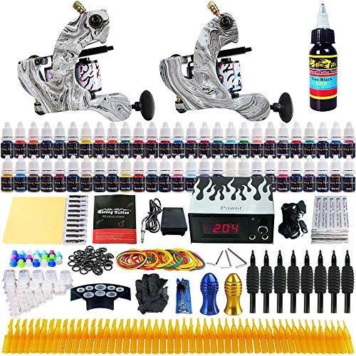 Solong Tattoo® Complete Tattoo Kit 2 Pro Machine Guns 54 Inks Power Supply Foot Pedal Needles Grips Tips TK220