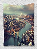 Ambesonne London Aerial View Decor Collection, Panoramic Picture of Thames River and Tower Bridge Picture Print, Bedroom Living Kids Girls Boys Room Dorm Accessories Wall Hanging Tapestry, Blue Ivory
