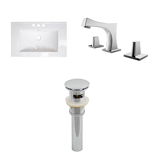 "Jade Bath JB-16697 32"" W x 18"" D Ceramic Top Set with 8"" o.c. CUPC Faucet and Drain, White"