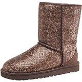 Womens Browns. Ugg Womens Classic Short Glitter Boots Bronze