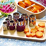 LOHOME? Vegetable Cutter Mold, Set Of 8 PCS Stainless Steel Mini Cookie Cutters Slicer Flower Shape Cake Vegetable...