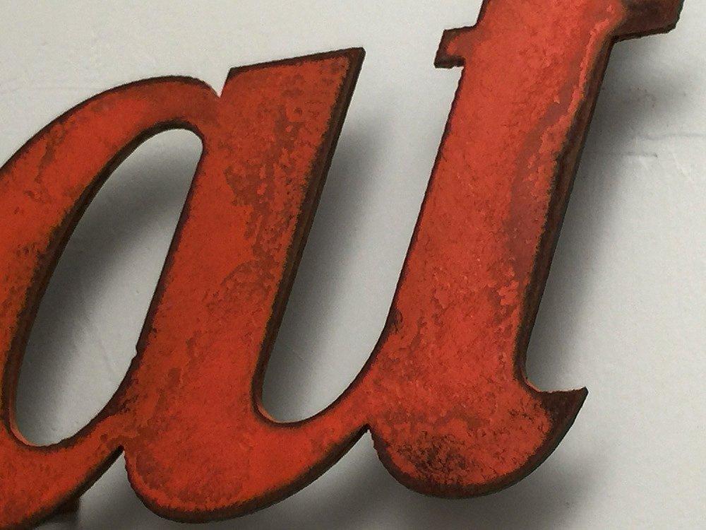 11 inch long eat metal wall art word - Handmade - Choose your patina color 7