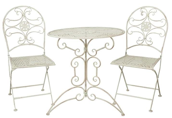 Clayre & Eef 5y0179giardino tavolo sedie da giardino tavolo con due sedie Bianco ca. Ø 70x 74cm/2X Ø 40x 45x 95cm