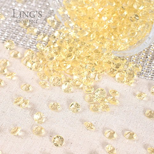 Ling's moment Diamond Table Confetti Decorations for Weddings, Bridal Shower, Party, Home, Centerpieces. 900 COUNT Gold Shadow, 2 Carat/8mm (Wedding Gems For Centerpieces compare prices)