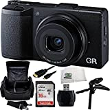 Ricoh GR 16.2 MP Digital Camera with 3.0-Inch LED Backlit (Black) + 16GB Bundle 6PC Accessory Kit. Includes SanDisk Ultra 16GB Class 10 SDHC Memory Card (SDSDUN-0016G-G46) + High Speed Memory Card Reader + Carrying Case + Pistol Grip/Table Top Tripod + Micro HDMI Cable + Microfiber Cleaning Cloth
