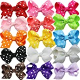Jastore® 15 Pieces Baby Girl Grosgrain Ribbon Hair Clips Alligator Clip Headbands (Dot)