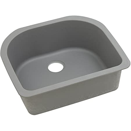 "Elkay ELGSU2522GS0 Granite 25"" x 22"" x 8.5"" Single Bowl Undermount Kitchen Sink, Greystone"