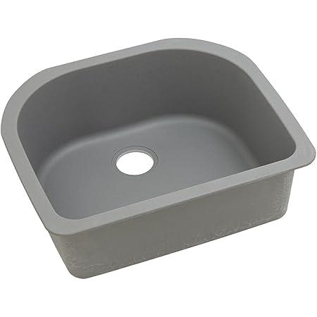 "Elkay ELGSU2522GS0 Granite 25"" x 22"" x 8.5"" Single Bowl Undermount Kitchen Sink, Greystone"