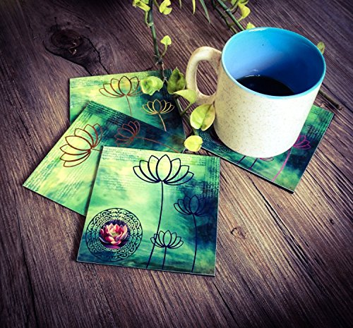 Set Of 4 Graphic Lotus Designed Acrylic Drink Coasters With A Square Holder, Bar Dining Accessory