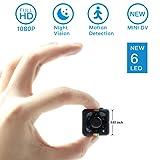 Mini Spy Hidden Camera, Moosoo 1080P/720P Full HD Matte Black 6 LED Infrared Night Vision Motion Detection Portable Recorder Home Surveillance Camera