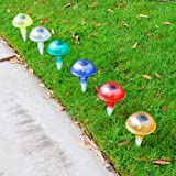 Ce Certified Ultra Bright Wireless Iridescent Mushroom Color Changing Solar Lights - 6 Pcs