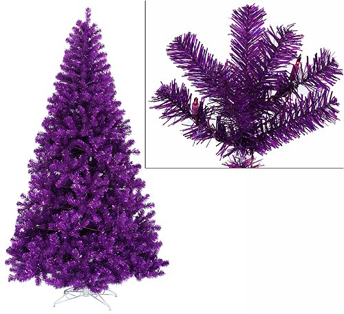 6' Pre-Lit Purple Artificial Sparkling Christmas Tree with Purple Lights