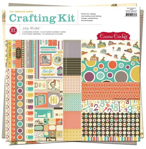Cosmo Cricket Joy Ride Scrapbook Paper Crafting Kit, 12-Inch-by-12-Inch