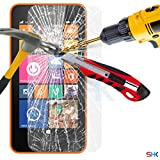 Nokia Lumia 635 Tempered Glass Crystal Clear LCD Screen Protector Guard & Polishing Cloth + RED 2 IN 1 Dust Stopper SVL2 BY SHUKAN®, (TEMPERED GLASS)