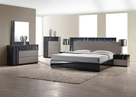 J&M Furniture Roma Black & Grey Lacquer With Unique Wave Design Bedroom Set-King Size
