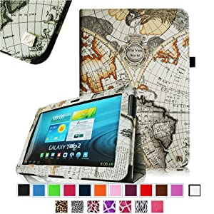 Fintie Slim Fit Folio Case Cover for Samsung Galaxy Tab 2 10.1 inch Tablet - Map White