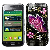 Samrick Butterfly Handmade Crystal Gemstone Rhinestone Bling Diamante Protective Case for Samsung i9000 Galaxy S/i9001 Galaxy S Plus - Black/Pink