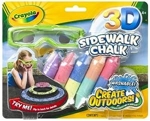 (极低)Crayola绘儿乐3-D Chalk儿童三维彩色绘画粉笔+3D眼镜欢乐套装$4.49