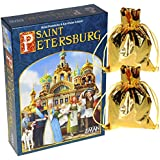 Saint Petersburg Board Game _ with 2 bonus gold cloth drawstring pouches.