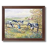 Holstein Cows Girl Cat Kittens Country Home Decor Wall Picture Cherry Framed Art Print
