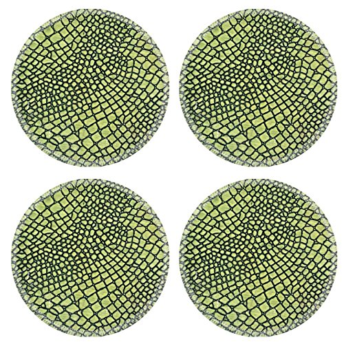MSD Natural Rubber Round Coasters IMAGE 11739818 A close up of a green skin of snake