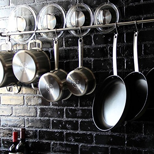 Kitchen professional chef rack storage wall mount rail for Kitchen s hooks for pots and pans