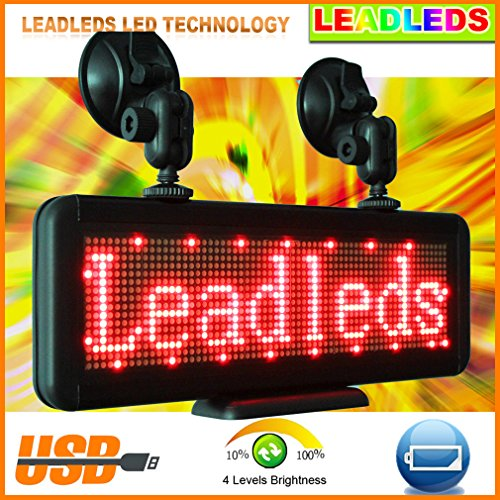 Leadleds Multipurpose 11.8 X 4.3 Inches Red Led Programmable Window Sign (Include Vacuum Cups)