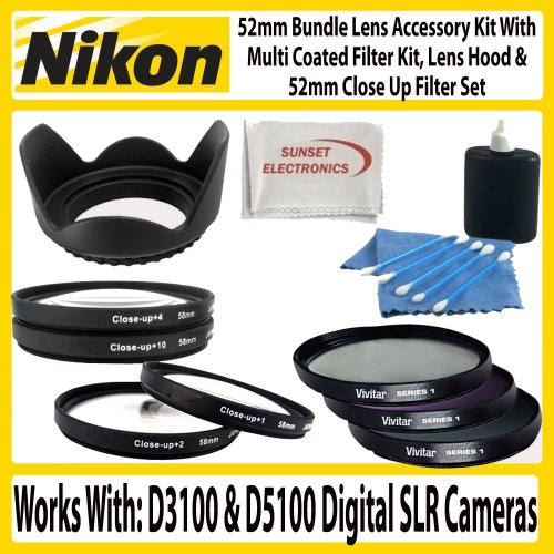 52mm Bundle Lens Accessory Kit For Nikon D3100 D5100 Digital SLR Camera With 18-55mm, 55-200mm Or 50mm Nikon Lenses. Includes 52mm 3pc High Resolution Multi Coated Filter Kit + 52mm Lens Hood + 4pc +1 +2 +4 +10 52mm Close Up Filter Set