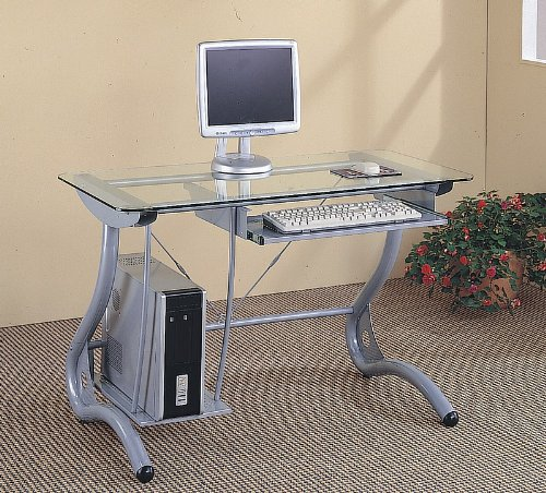 Buy Low Price Comfortable Retro Style Silver Finish Metal & Glass Computer Desk w/ Storage (B000V4Y9QQ)