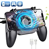 Qoosea Mobile Controller with 4000mAh Battery Power Bank Cooling Fan Mobile Controller L1R1 Game Trigger Joystick Gamepad Grip Remote for PUBG/Knives Out/Free Fire for Android iOS Phone 4.5-6.5