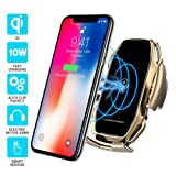 Wireless car Charger,EERIE A5 Smart Sensor Wireless Car Charger Mount,QI 10W Automatic Clamping Fast Charging Holder Compatible with iPhone 11/Xs/Xs Max/XR/X/8/8 Plus,Samsung Note 9/S9/S9+/S8(Gold) (Color: A5-Gold)