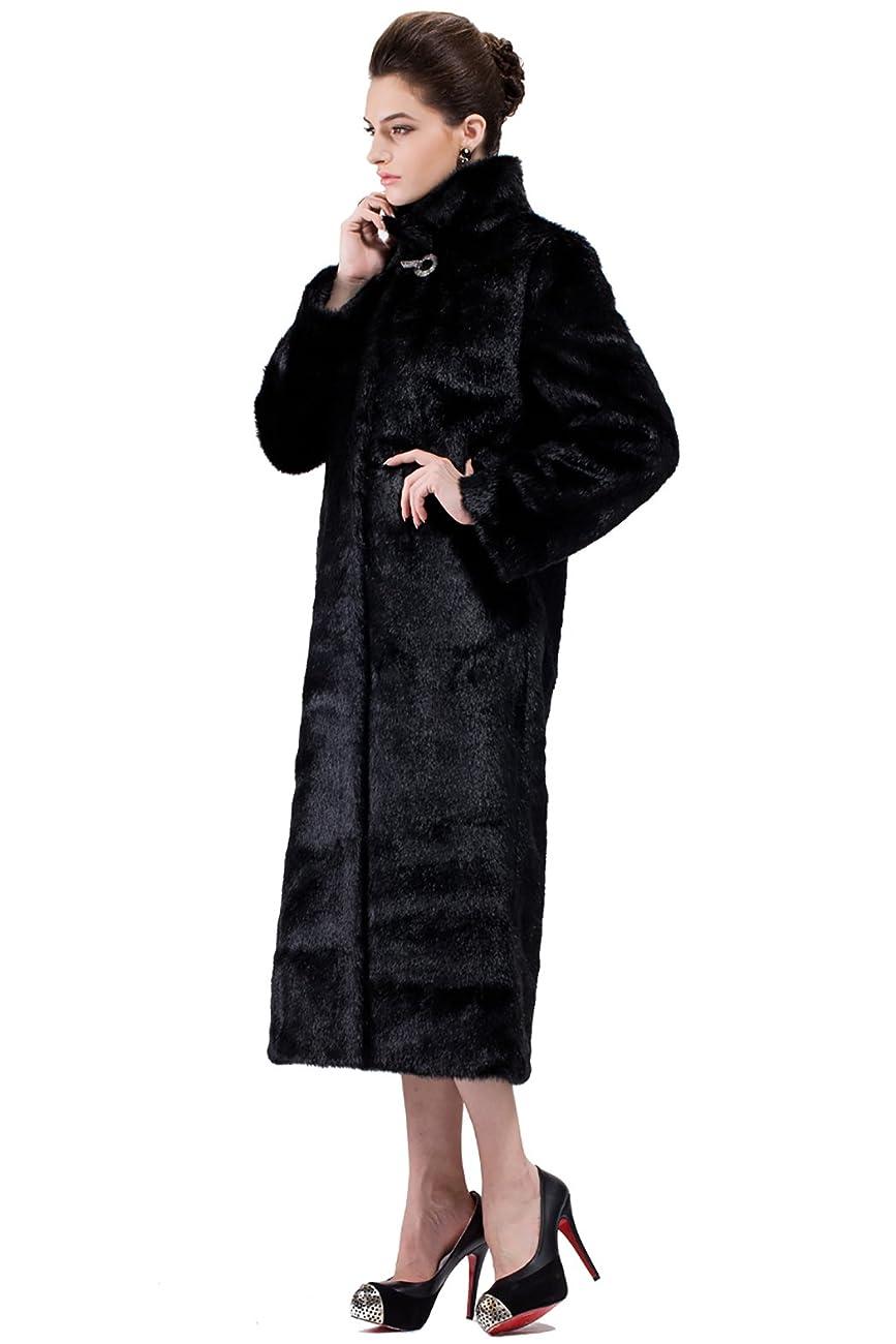 Adelaqueen Women's Elegant and Vintage Outerwear Mink Fabulous Faux Fur Coat 3