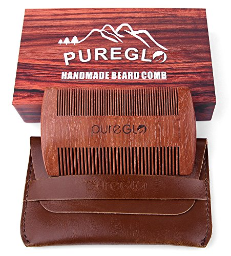 PureGLO Wooden Beard Comb | Anti-Static Handmade Sandalwood Wide Fine Tooth Pocket Mustache Comb | No Snag Hair Combs with Faux Leather Carrying Pouch and Premium Box