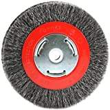 Forney 72752 Wire Bench Wheel Brush, Wide Face Coarse Crimped with 1/2-Inch and 5/8-Inch Arbor, 6-Inch-by-.012-Inch