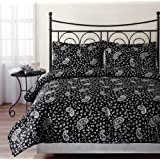 Chezmoi Collection Milan 3-Piece Paisley Printed Comforter Set, Queen/Full, Black/White