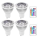 GU10 6W RGB Magic LED Colors Changing Light Bulb,4 Pack,16 Different Multi-Color LED Lamp with IR Remote Control for Home,Bar,Party,KTV,Mood Lighting,Chener (Color: Multi-colored, Tamaño: GU10 base)