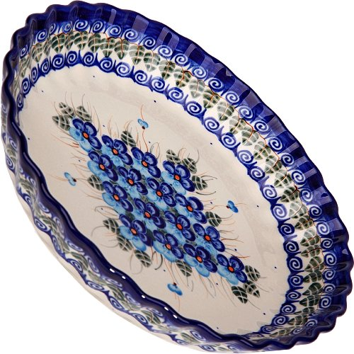 Polish Pottery Ceramika Boleslawiec,  1212/162, Pie Baker Small, 9 7/8 Inches in Diameter - 4 Cups, Royal Blue Patterns with Blue Pansy Flower Motif