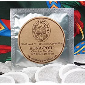 Aloha Island Kona Hawaiian Blend Coffee Pods, Chocolate Fudge Flavored, 24 Pods
