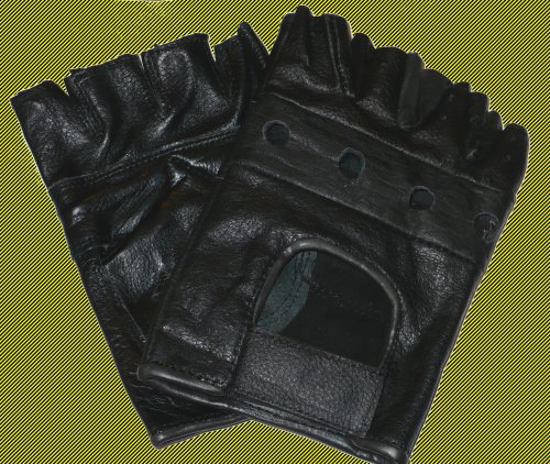 Men's Large Genuine Leather Biking Gloves, Fingerless