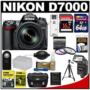 Nikon D7000 Digital SLR Camera & 18-200mm VR II DX AF-S Zoom Lens with 64GB & 16GB Cards + Case + 3 Filters + Flash + Diffuser + Tripod + Remote Kit