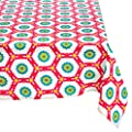 "Mahogany P104T120 Rectangle ""Aria"" Printed Tablecloth, 60 by 120-Inch, Fuchsia"