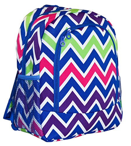 Ever Moda Royal Blue Multicolor Chevron Backpack School Bags