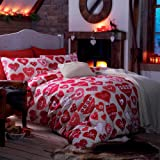 Catherine Lansfield Hearts Double Quiltset - Red