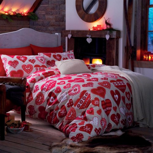 Catherine Lansfield Hearts Cotton Rich Single Quilt Set, Red