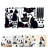 Amaonm Removable DIY Cute Cartoon Black Cat Wall Decor Kids room Wall Sticker Lovly Playing Cat Wall Decals Peel Stick FOR Girls Children Bedroom Classroom Nursery Room Wall Corner (3360cm) (Color: Black, Tamaño: 33*60cm)