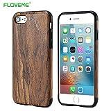 FLOVEME iphone7ケース木製紋上質な天然ウッドスタイリッシュケース 全5色(iPhone 7ケース全5色, 深棕?)